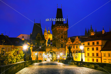 Old Town With Charles Bridge In Prague Before Sunrise Stock Photo