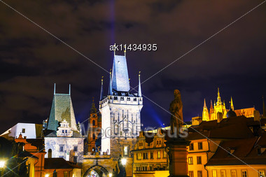 Old Town With Charles Bridge In Prague In The Night Stock Photo