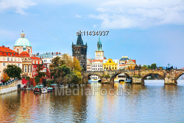 Old Town With Charles Bridge Tower In Prague In The Evening Stock Photo