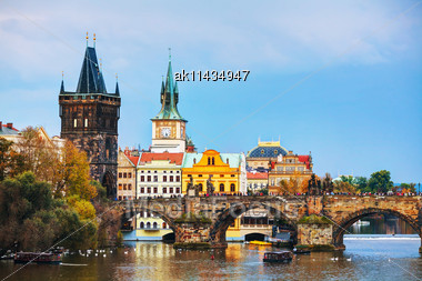 Old Town Charles Bridge Tower In Prague In The Evening Stock Photo