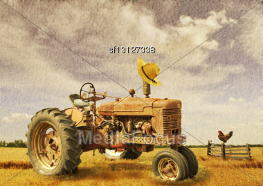 Old Tractor On A Field With Texture Stock Photo