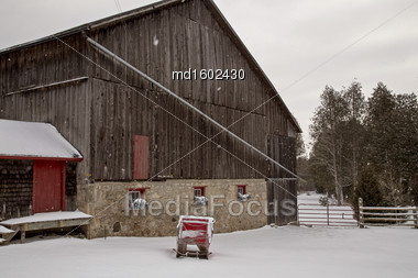 Old Vintage Barn And Sleigh Ontario Canada Stock Photo