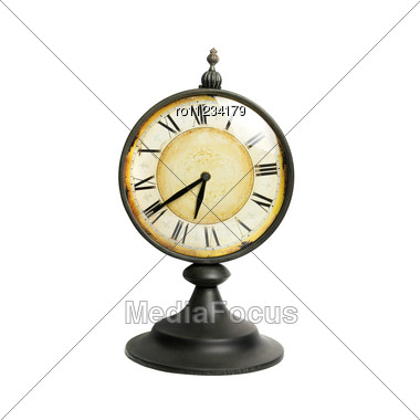 Old Vintage Clock Isolated Stock Photo