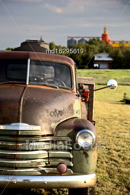Old Vintage Truck Prairie Scene Saskatchewan Canada Stock Photo