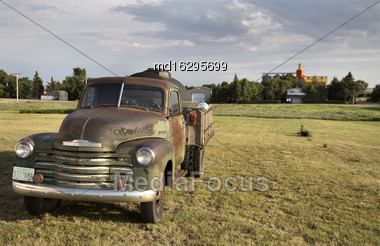 Old Vintage Truck Prairie Scene Saskatchewan Canada Stock Photo