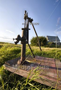 Old Vintage Water Pump Handle Saskatchewan Canada Stock