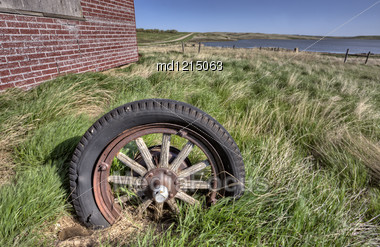 Old Wagon Wheel Close Detail Saskatchewan Canada Stock Photo