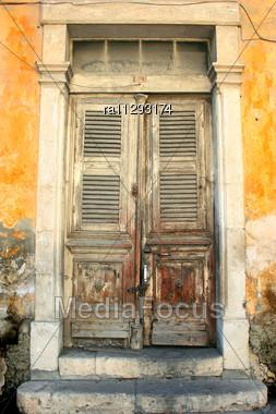 Old Wooden Door In Limassol, Cyprus Stock Photo