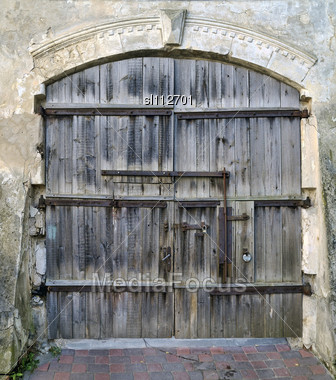 Stock Photo Old Wooden Gate Of Medieval House Image