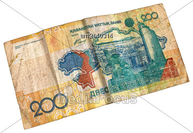 Old Worn Banknote Denomination Of 200 Tenge Stock Photo