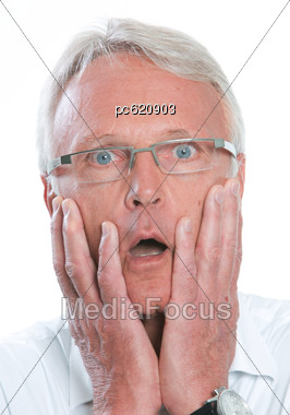 Older Man, Startled, Hands On The Face, Portrait Stock Photo