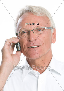 Glasses Frames For 60 Year Old Man : Stock Photo Older Men With Mobile Telephones Portrait ...