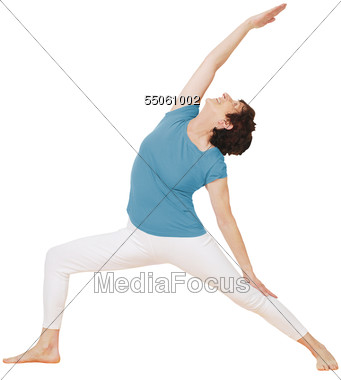 Older Woman Doing Yoga Side Strain Stretch Stock Photo
