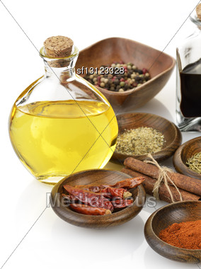 Olive Oil,Vinegar And Spices Stock Photo