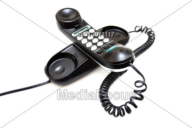 One Black Phone With Buttons Stock Photo