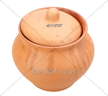 One A Closed Ceramic Grunge Pot Close-up Studio Photography Stock Photo