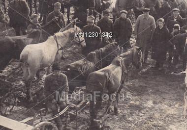 One Of First Soviet Collective Farms (kolkhoz) 1920-30s. Vinkivtsi. Ukraine Stock Photo