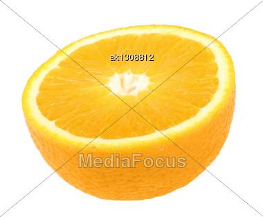 One Half Of Fresh Orange. Isolated On White Background. Close-up. Studio Photography Stock Photo