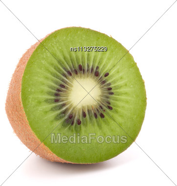 One Kiwi Fruit Half Isolated On White Background Cutout Stock Photo