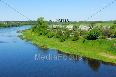 One Of The Major Rivers Of Belarus, Western Dvina Stock Photo
