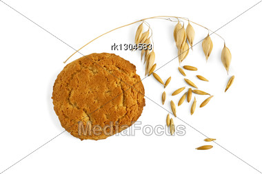One Oatmeal Cookie With A Stem Of Oats And Oat Grains Stock Photo