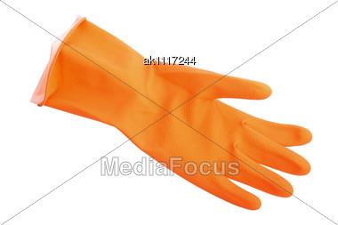 One Orange Rubber Glove. Close-up Stock Photo