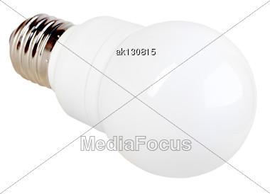 One Sphere Energy Saving LED Lamp Isolated On White Background. Studio Photography Stock Photo