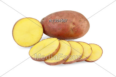 One Whole And One Sliced Potato Into Slices Stock Photo