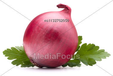 Onion Vegetable Bulb And Parsley Leaves Still Life Isolated On White Background Cutout Stock Photo