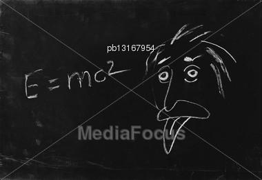 Ooops. The Genius Albert Einstein Show Tongue. Sketch On Blackboard Stock Photo