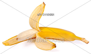 Open Banana Isolated On A White Background Stock Photo