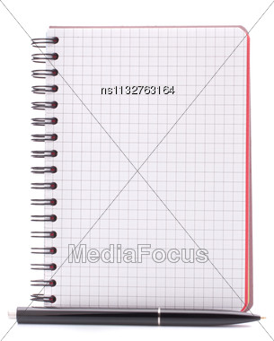 Open Blank Checked Notebook With Black Pen Isolated On White Background Cutout Stock Photo