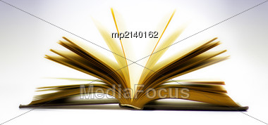 Open Book Isolated On Light Blue Background Stock Photo