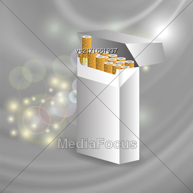 Open Cigarette Pack On Star Grey Wave Background Stock Photo