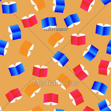 Open Colored Books Seamless Pattern Isolated On Orange Background Stock Photo