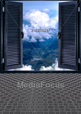 Open Doors In Heavens With Clouds Stock Photo