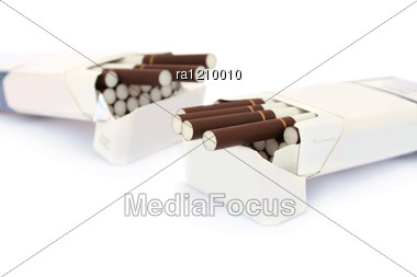 Open Full Packs Cigarettes Stock Photo