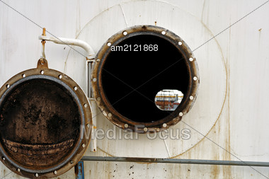 Open The Hatch In The Oil Tank. Stock Photo