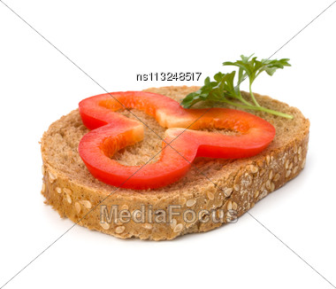 Open Healthy Sandwich With Vegetable Isolated On White Background Stock Photo