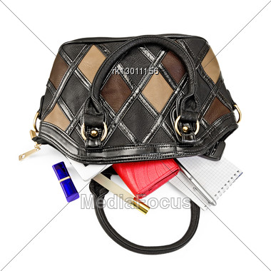 Open Ladies Leather Handbag, Red Purse, Perfume, Lipstick, Phone, Notebook, Pen, Electronic Book Stock Photo