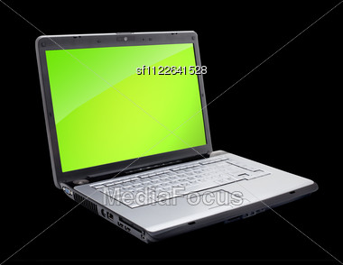 Open Laptop Showing Keyboard And Screen Stock Photo