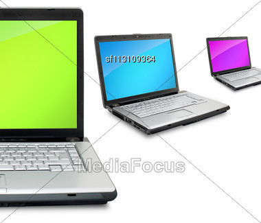 Open Laptops Showing Keyboard And Screen Isolated On White Background Stock Photo