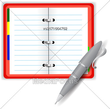 Open Notebook And Grey Pen Isolated On White Background Stock Photo