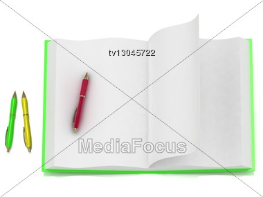 Open Notepad Green And 3 Colored Pens Stock Photo