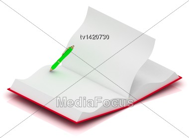 Open Notepad In Red Cover With A Green Pen On A White Background Stock Photo