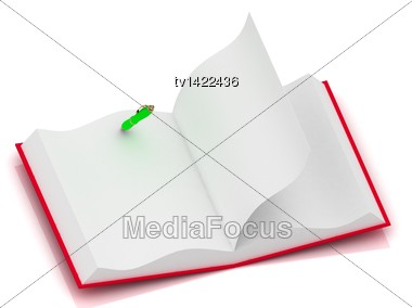 Open Notepad In Red Cover With A One Green Pen Isolated On A White Background Stock Photo