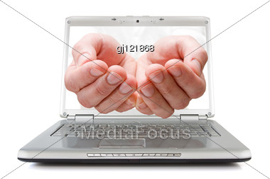 Open Palms Coming Out Of The Screen Of A Laptop Stock Photo
