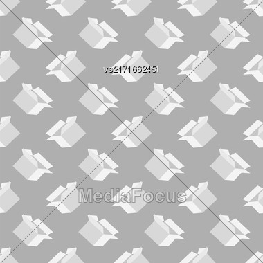 Open Paper Boxes Seamless Pattern On Grey Background Stock Photo