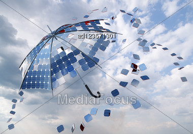 Open Solar Photovoltaic Umbrella Stick Concept Stock Photo