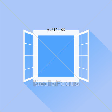 Open White Window Isolated On Blue Background Stock Photo
